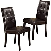 Poundex 1Perfect Choice High Back Dining Side Chairs Stools Faux Leather, Dark Brown Wood Legs, Set of 2