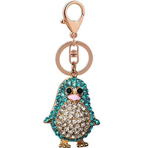 Bolbove Cute Penguin Keychain Blingbling Keyring Crystal Rhinestones Purse Pendant Handbag Charm (Blue)]()