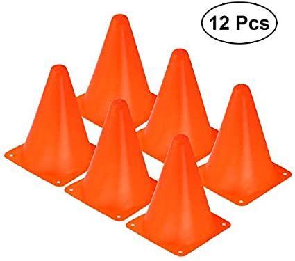 VORCOOL Sport Cones Football Soccer Rugby Training Cones Agility Marker Cone Pack of 12 Orange
