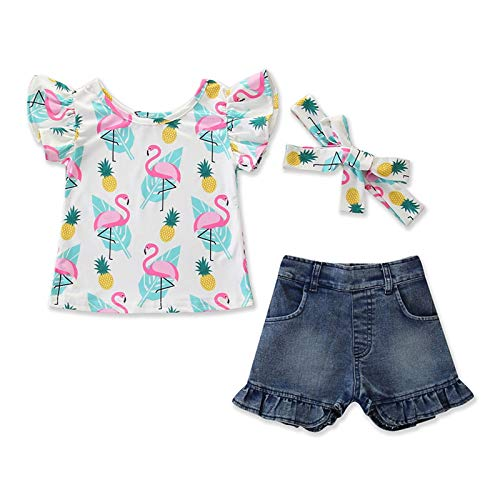 JINSIJU 3 stuks Peuter Baby Meisje Zomer Outfits, Ruffle Sleeve Cartoon Print T-Shirt + Denim Shorts + Hoofdband Set