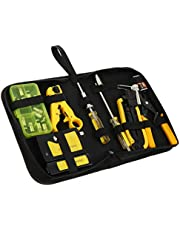 POPETPOP 20 Pcs Network Tool Kits Portable Cable Tester Test Crimper Crimping Stripper Cutter Tool Kit with Workbag (With Battery)