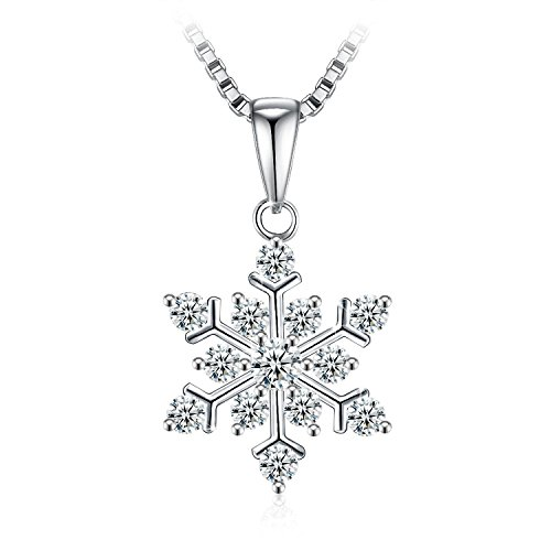 ROYI Snowflake Christmas Necklaces for Girls 925 Sterling Silver 5A Cubic (Snowflake Necklace)