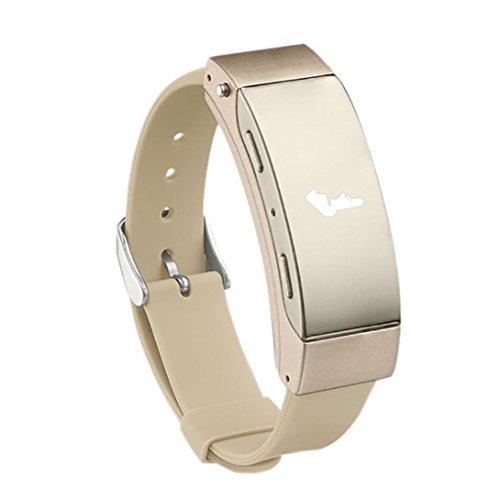 Ruams Waterproof Heart Rate Monitor, Pedometer Smart Watch for Women Men Kids Students, Blueteeth Earphone Bracelet (Gold) by Rumas