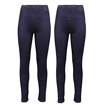 f84c3397d00 New Ladies Pack OF 2 Stretchy Denim Look Skinny Jeggings Leggings Plus Size  8-26 UK  Amazon.co.uk  Clothing