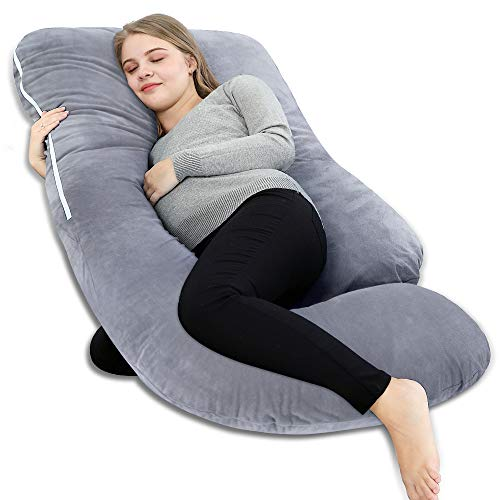 INSEN Full Body Pregnancy Pillow,U Shaped Maternity Pillow for Pregnant Women with Velour Body Pillow Cover