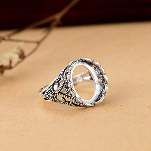 Ring Blank (12x14mm Oval Blank) Adjustable Thai Sterling Silver Ring Base Filigree Oval Cabochon Ring Setting R726B