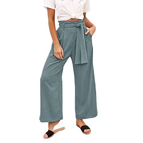 Women High Waist Pants Plus Size Casual Solid Floral Flared Bandage Pants Vintage Baggy Yoga Long Trousers Wide Leg Bottoms Pants