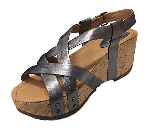 Bussola Women's Fabia Leather Strappy Open Toe Platform Wedge Buckle Sandal (39 M EU, Silver)