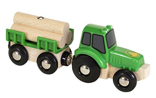 BRIO 33799 - Traktor mit Holz Anhänger, bunt