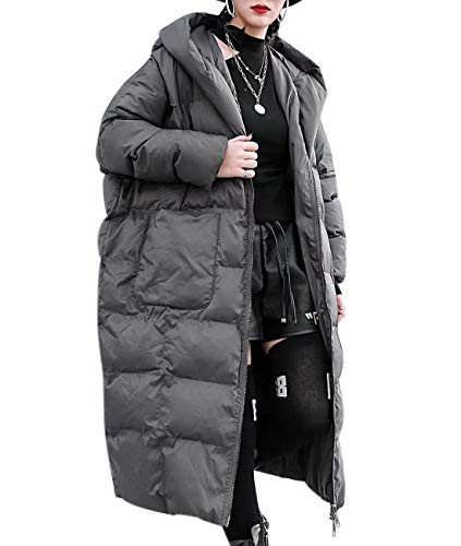 - YESNO M00 Women Long Maxi Hooded Thick Quilted Jackets Plus Size Parka Coat Puffer Outwear Full Zip/Pockets