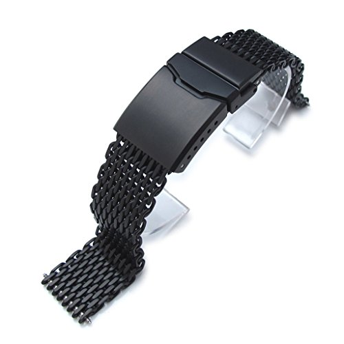 """18mm Ploprof 316 SS Wire """"SHARK"""" Mesh Milanese Watch Band, Chamfer Clasp, Black, AB"""