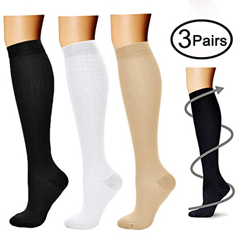 Compression Socks (3 Pairs), 15-20 mmhg is BEST Athletic & Medical for Men & Women, Running, Flight, Travel, Nurses - Boost Performance, Blood Circulation & Recovery (Small/Medium, Black+White+Nude)