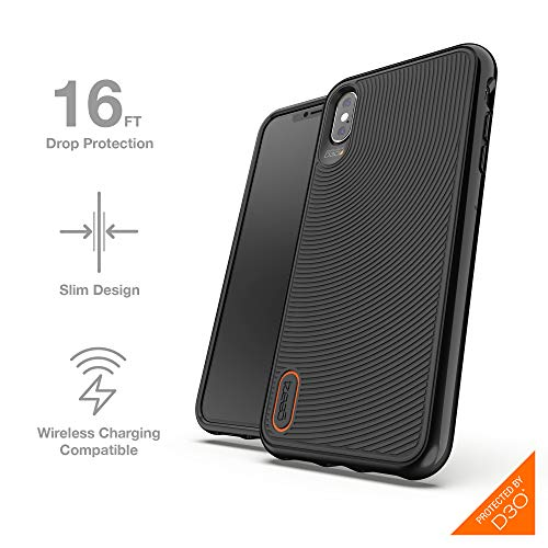 Gear4 32955 Hardback Case with Advanced Impact Protection [ Protected by D3O ], Glass Back Protection, Slim, Tough Design for iPhone Xs Max, Battersea - Black