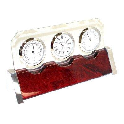 Bey-Berk International Glass & Weather Station Desktop Clock by Bey-Berk