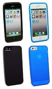 Kit Me Out ES ® Pack de fundas de gel TPU para Apple iPhone 5/5G - Negro, Azul Esmerilado