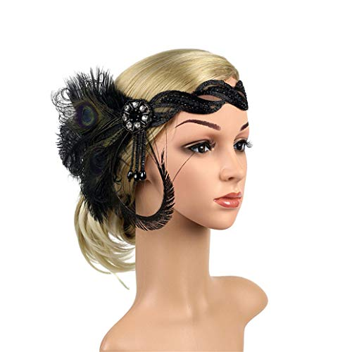 Art Deco 1920s Flapper Feather Headpiece Roaring 20s Great Gatsby Headband for Women Black ()