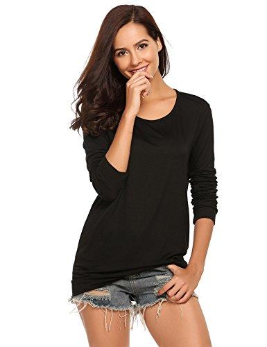 Zeagoo Women's Long Sleeve Tops Cotton Blend Crew Neck Casual Teen Girls Tees Loose T Shirts Black (Women High Quality T-shirt)
