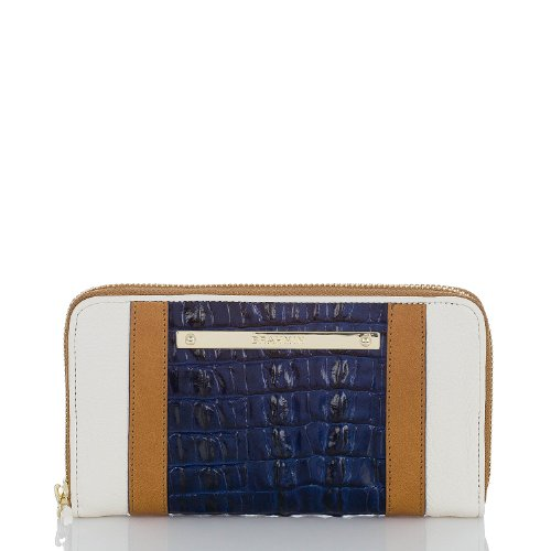 Brahmin Suri Vineyard Leather Zip Around Wallet Creme Tan Navy by Brahmin