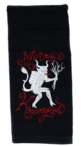 Merry Krampus Hand Towel Kitchen and Bath Evil Santa Gothic Home Decor (Santa Bathroom Accessories)