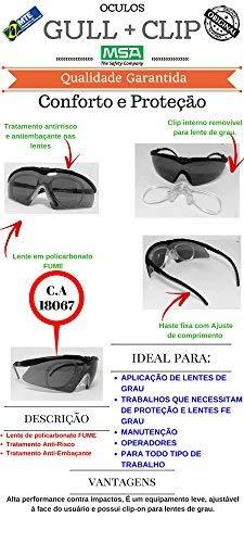 a48d530d1d7d4 Oculos Protecao Msa Gull + Clip P Lentes De Grau Antiembacante c.a 18067   Amazon.com.br  Ferramentas e Construção