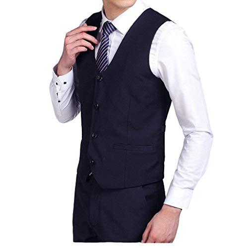Slim Da Ragazzi Classiche Basic Dunkelblau Casual Fashion Uomo Sposa Gilet Fit Monopetto Lavoro A8PISxqdqw