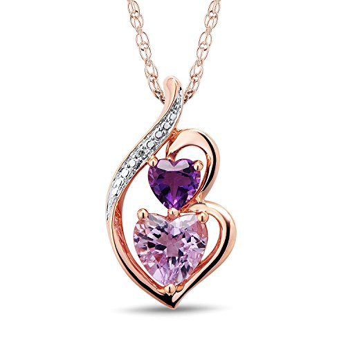 Amethyst Heart Necklace in 10k Rose Gold with Diamond Accent