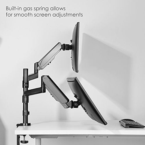 Mindful Design Dual Arm Monitor Mount - Heavy Duty Gas Spring Monitor Stand, Fits Screen Sizes 17'' to 32'' (Black) by Mindful Design (Image #3)