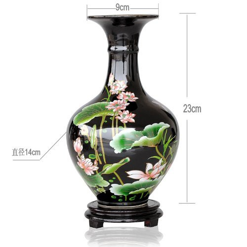 ufengke Black Ceramic Vase, Chinese Porcelain Vase With Stand, Pastel Lotus Paintings, For Home Decoration, Black And Green