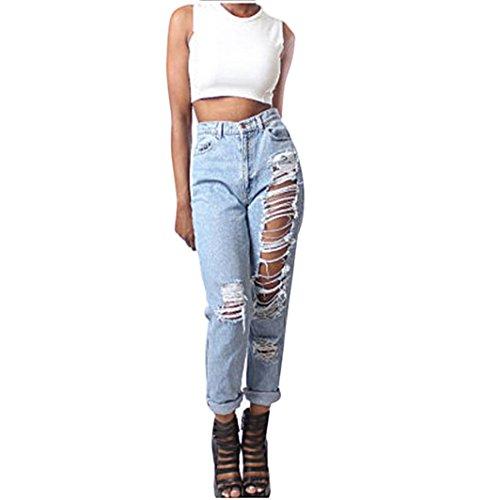 Gillberry Womens Ladies Celeb Stretch Ripped Skinny High Waist Denim Pants Jeans (L, - With Celeb Glasses