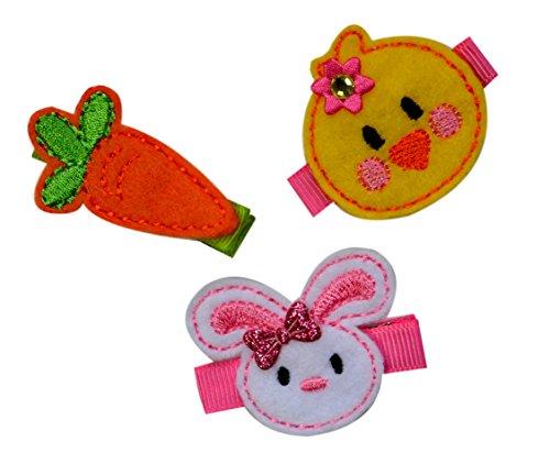 Easter Hair Clip Set for Girls (Set of 3) No Slip Hair Clips ()