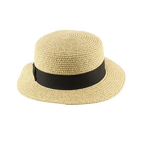 Men s Summer Boater Straw Pork Pie Derby Fedora Flat Top Gambler Hat Natural  S M at Amazon Men s Clothing store  c3069028eebb