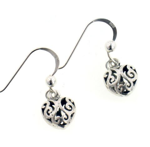 Small Filigree Puffed 3D Dangling Heart Sterling Silver Hook Earrings