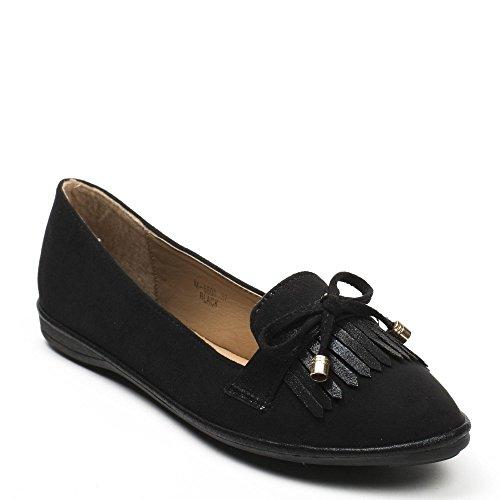 Ideal Shoes, Damen Ballerinas Schwarz