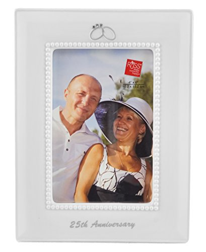 25th Anniversary Wedding Ring Vertical Picture Frame - 4 x (25th Anniversary Design Photo Frames)