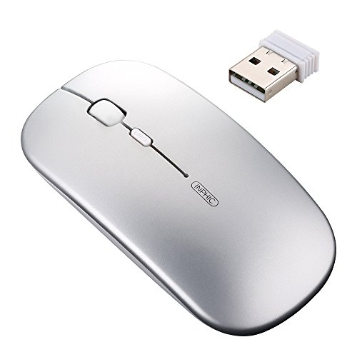 Laptop Rechargeable Mouse (inphic Rechargeable Wireless Mouse, Mute Silent Click Mini Noiseless Optical Mice,Ultra Thin 1600 DPI for Notebook,PC,Laptop,Computer,Macbook (Light silver))