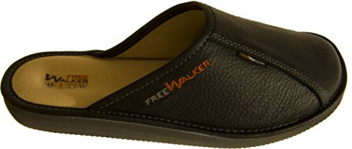 FreeWALKER ® | 100% Echtes Leder, 100% Schafwolle | Herren Hausschuhe Schwarz (Leder Innenfutter)