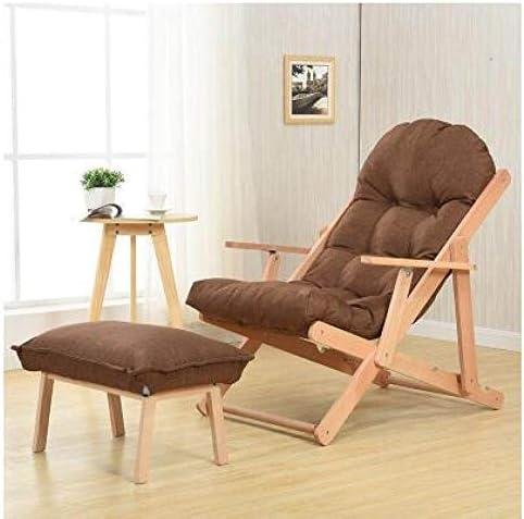 POUPDM Canapé Simple Chaise Longue de Balcon.Canapé Pliant en Tissu en Bois Massif.Chaise de Plage Japonaise de Loisirs Paresseux de Bureau, 20CMLegs de Haut