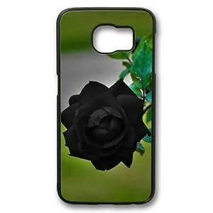 Personalized Case, Sakuraelieechyan Black Sides Hard Plastic Case for Samsung Galaxy S6 Edge With Black Rosevil