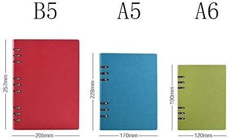 con 6 anillas para recambios de papel tama/ño A6 Langing color azul marino Cuaderno recargable de piel tapa dura