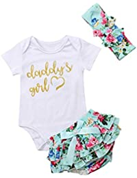 Newborn Baby Girls Clothes Rompers+Ruffel Pants...
