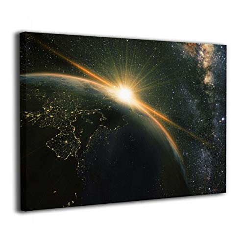Marshallgary Canvas Wall Art Prints Sunrise View The Planet Earth from Space -Photo Paintings Present Decorative Giclee Artwork Wall Decor-Ready to Hang 16x20 in ()