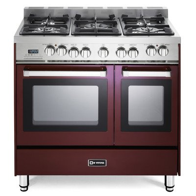 Cheap Verona VEFSGE365NDBU 36″ Double Oven Dual Fuel Range with 5 Sealed Gas Burners 2.4 cu. ft. Oven Capacity Quiet Hinge Storage Drawer Electronic Ignition Digital Clock and Timer In