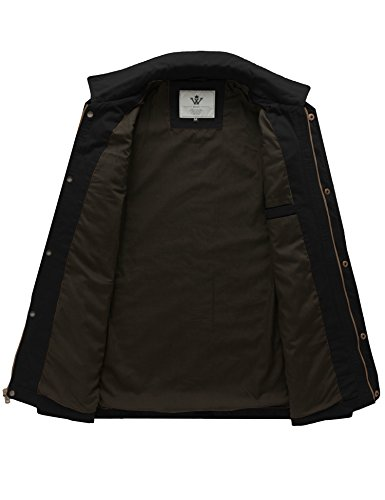 WenVen Men's Flat Collar Canvas Cotton Military Jacket