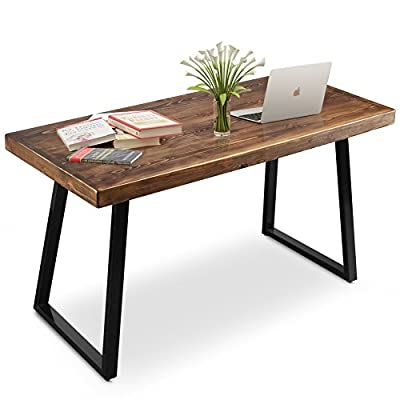 """Tribesigns 55"""" Solid Wood Computer Desk Rustic Desks with Heavy-Duty Metal Base, Simple Retro Style Office Desk Workstation"""