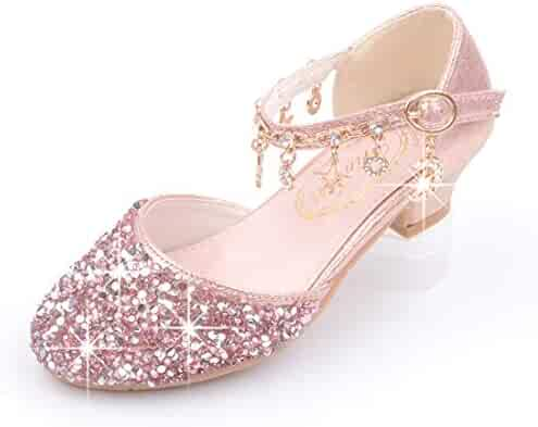 60e5df2b73f0 YIBLBOX Girls Kids Mary Jane Glitter Low Heel Party Wedding Sandals Childrens  Dress Shoes