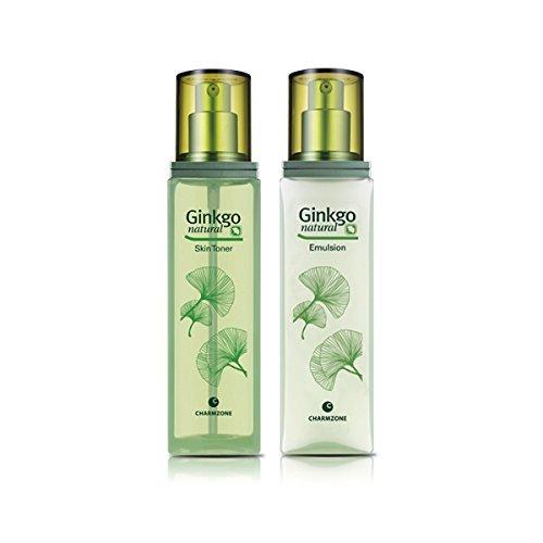 (Charmzone Ginkgo Natural 2 Kind Set | Skin Toner, Emulsion + 1 free gift)