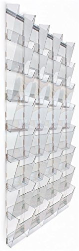 Wall Magazine Rack with 32 Tiered Pockets, 4 Columns of 8, Full View - Clear acrylic by Displays2go