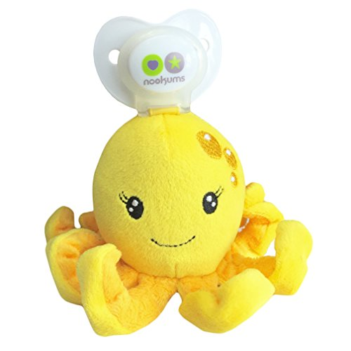 Nookums Paci-Plushies Buddies - Octopus Pacifier Holder - Plush Toy Includes Detachable Pacifier, Use with Multiple Brand Name Pacifiers