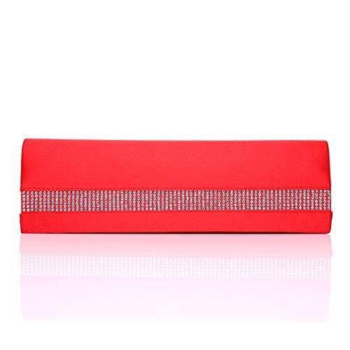 TASCHE 632 Rot Satin Strassleiste Clutch Tasche