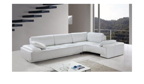 Amazon.com: Vig Furniture Blanco - White Leather Modern ...